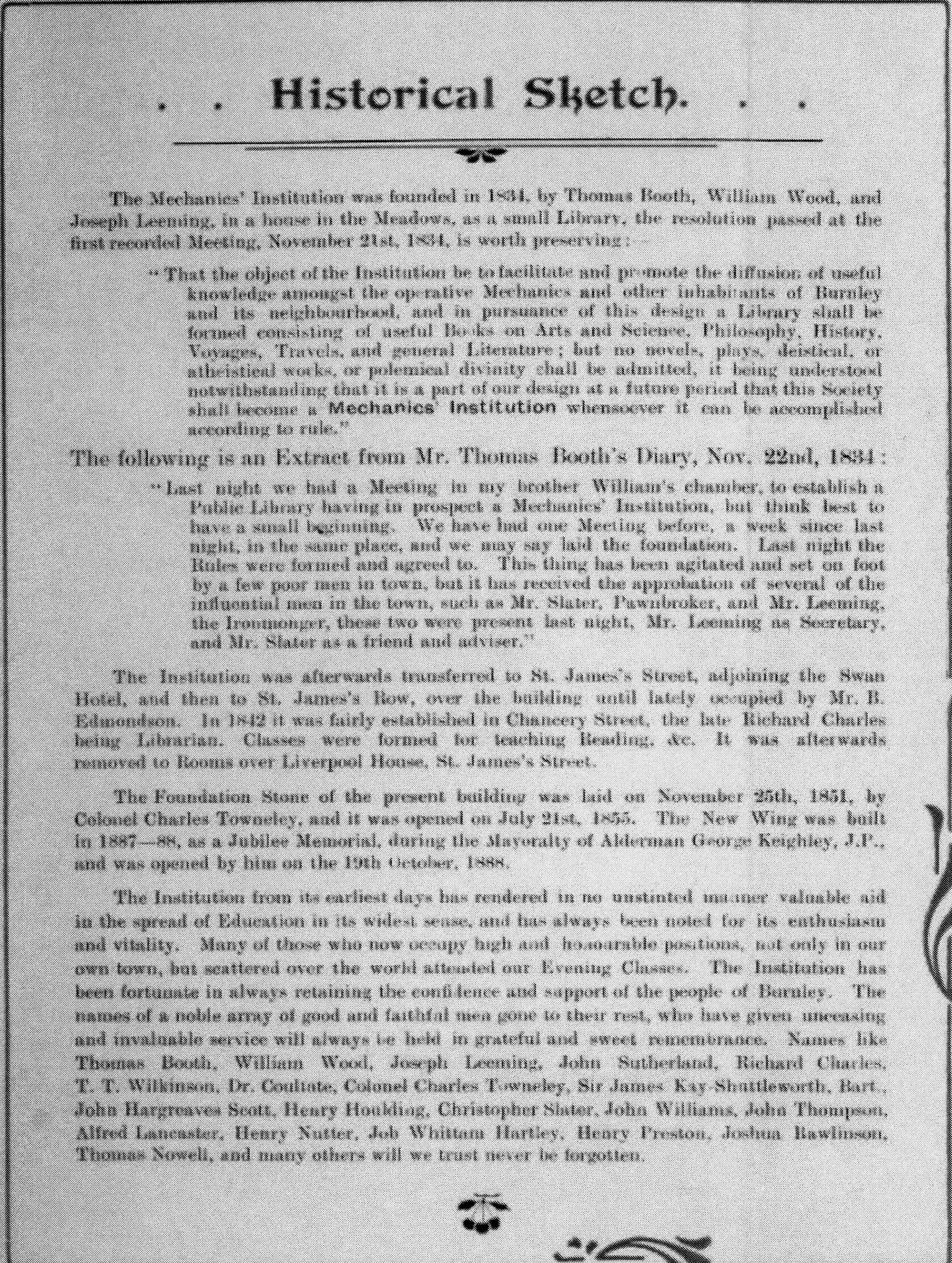 Mechanics' Institute - Historic Notes