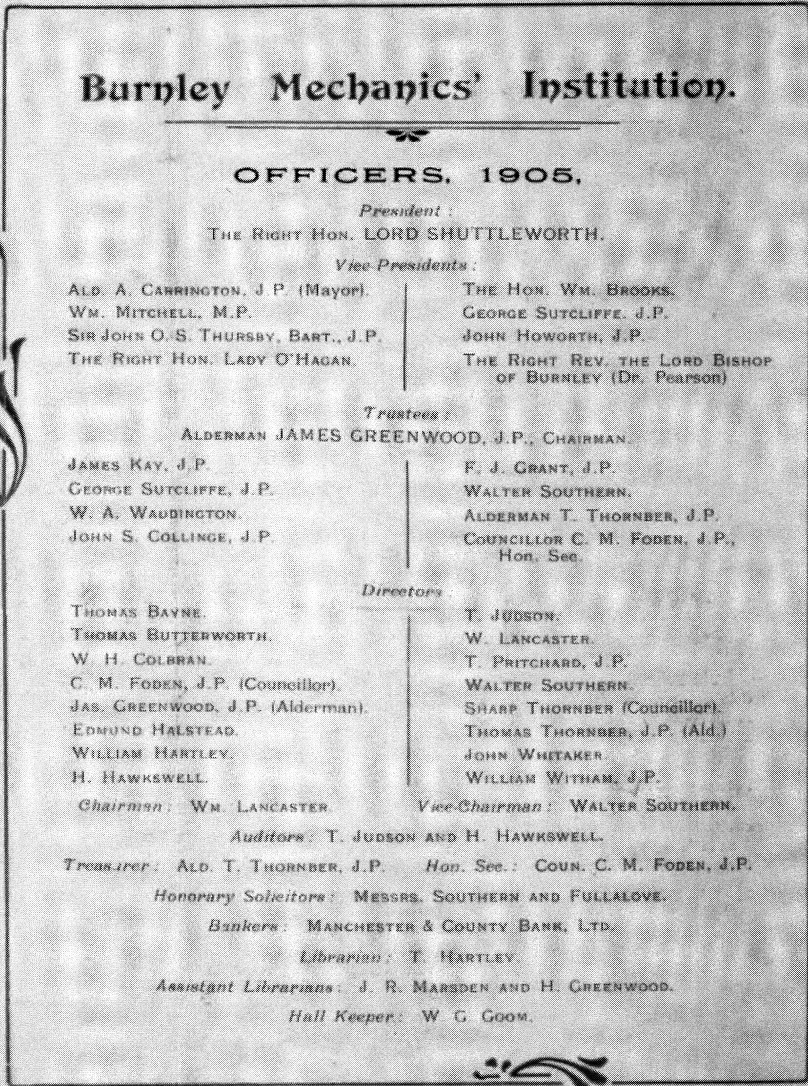 List of Officers 1905