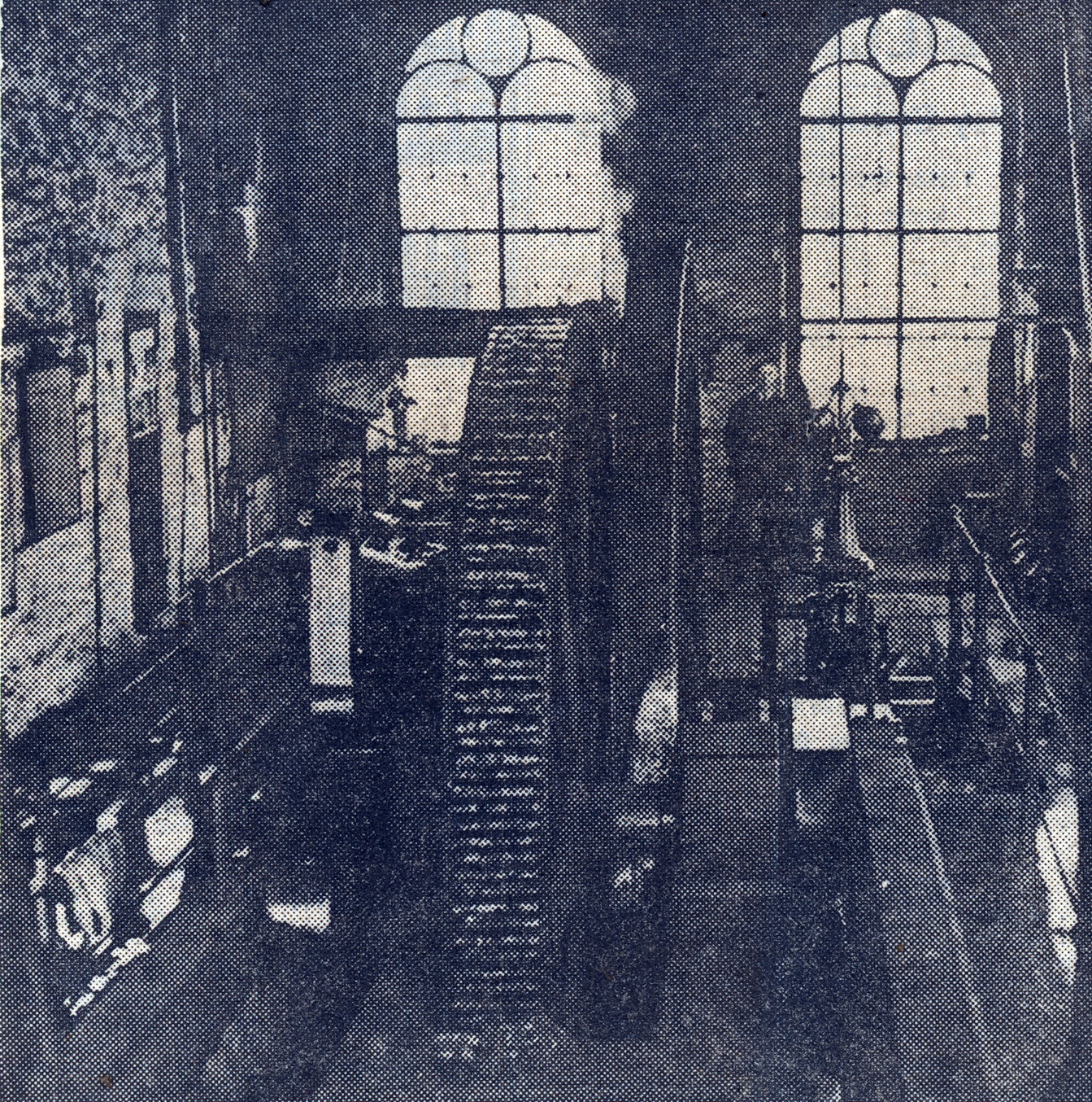 The engine room and the giant flywheel which worked the pumps