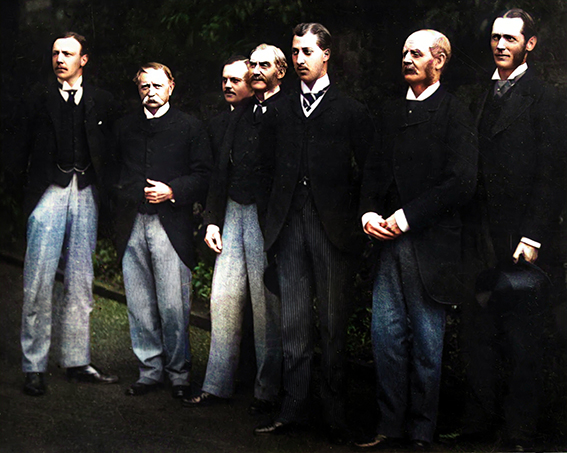 From L-R: J.O.S.Thursby, A.B. Walker (Higher Sheriff of Lancashire), Capt. Greville, (Equerry to the Prince) J.P.C. Starkie, Prince Albert Victor, Col. Thursby and Lord Ughtred Kay-Shuttleworth M.P.