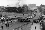 Fire halts nearby mill-fireman fight to control the inferno which gutted  Bankfield Mill