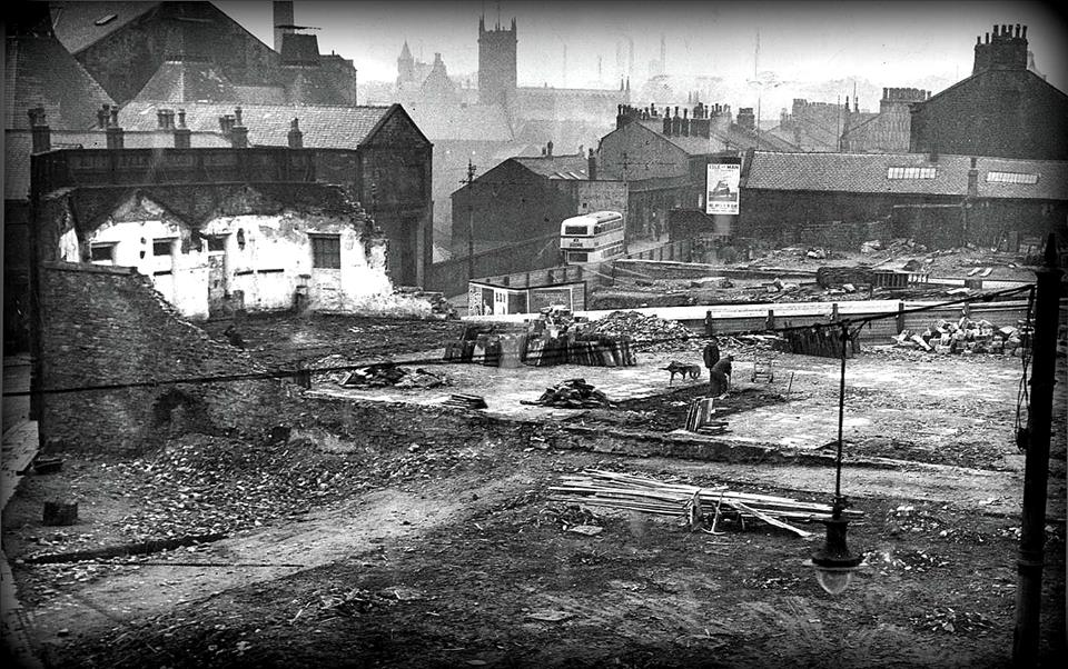 The site in 1936 viewed from Yorkshire Street towards St Peters' Church.